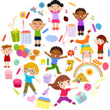 Planet of kids, colorful. Illustration art Royalty Free Stock Photography