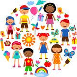 Planet of kids, colorful  illustration Stock Photo