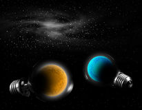 Planet in lamp Stock Images