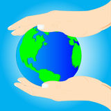 Planet land in hand of the person. On turn blue background stock illustration