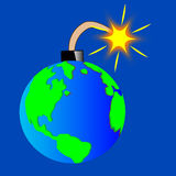 Planet land jeopardized. Planet land in the manner of bombs with alight wick royalty free illustration
