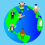 Planet land and people. Planet land with continent and country and people stock illustration