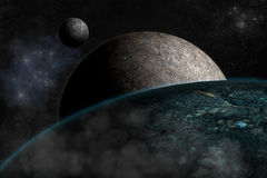 Planet landscape in space. Royalty Free Stock Image
