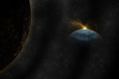 Planet landscape in space. Royalty Free Stock Photo