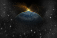 Planet landscape in space. Stock Photos