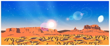 Planet Landscape. Vector illustration of landscape of a distant planet. The planet is covered with craters and rocks. Illustration seamless horizontally if Stock Photos