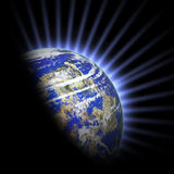 Planet with light rays Royalty Free Stock Photos