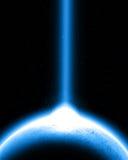 Planet with lightbeam Stock Photo