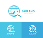 Planet and loupe logo combination. World and magnifying glass symbol or icon. Unique globe and search logotype design vector illustration