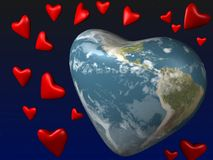 Planet of love - the Earth. The planet the Earth in the form of heart soars in space Stock Photos