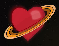 Planet Love. Red hearth with rings on black background with stars Stock Image