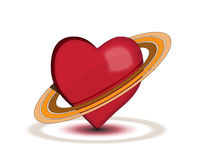 Planet Love. Red hearth with rings on white background with shadows Stock Images
