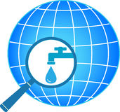 Planet and magnifier with tap Royalty Free Stock Photos