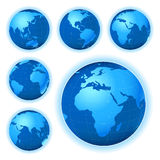 Planet map. Planet earth map from six views; illustration Royalty Free Stock Photos
