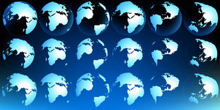 Planet map. Planet earth map from multiple views; illustration Stock Photography