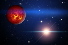 The Planet Mars and bright star in space Stock Image