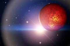The Planet Mars and bright star in space Royalty Free Stock Photos