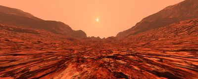 Planet Mars Lanscape der Wiedergabe-3D Stockbild