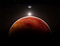 Planet Mars with moon. Illustration Royalty Free Stock Images