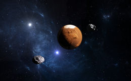 Planet Mars with moon, illustration Stock Image