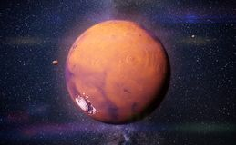 Planet Mars with it moons Phobos and Deimos. Neighbour planet in space, Mars in vibrant colors Stock Image