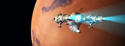 Planet Mars and passing spacecraft. Computer generated 3D illustration with planet Mars and passing spacecraft Stock Photos
