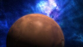 Planet mars revolving in sky filled with stars and dust