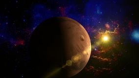 Planet Mars rotating in space - with lens objects. stock footage