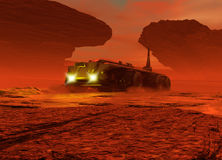 Planet Mars surface with vehicle driving on it Royalty Free Stock Photo