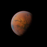 The Planet Mars at three quarters. A CGI render of planet Mars with full 8K Nasa Textures and realistic atmospheric effects Royalty Free Stock Photography