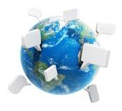 Planet med anförandebubblor, kommunikationsbegrepp royaltyfri fotografi