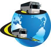 Planet med bussen Royaltyfri Bild