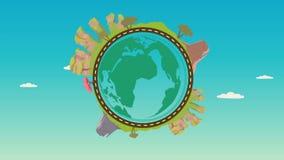 Planet med naturlandskap på omkring Rörelsevideo för rengöringsdukbanret, rengöringsduken och mobilen, infographics Poppa upp jor arkivfilmer