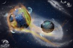 Planet med signalljuset i utrymme, optiska fibrer Arkivbilder
