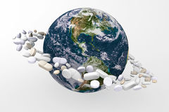 Planet with medicines Royalty Free Stock Image