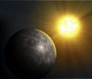 Planet Mercury. Sun rising over the planet Mercury Royalty Free Stock Photos