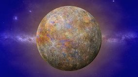 Planet Mercury, the smallest and innermost planet in the Solar System. Artist`s impression of the smallest known planet stock images