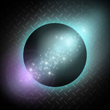 Planet on the metal background. Shinig Stars Royalty Free Stock Photos