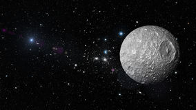 Planet Mimas in outer space. Elements of this image furnished by NASA Royalty Free Stock Photo