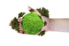 Planet mit Baum in der Hand Stockfoto