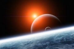 Planet mit doppelten Monden und aufsteigendem Stern lizenzfreie abbildung