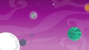 Planet mit Karikaturgegenstand im Raum lizenzfreie abbildung