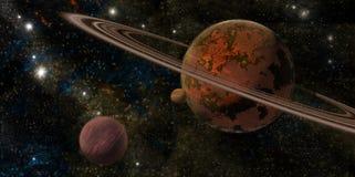 Planet mit Ringen stock abbildung