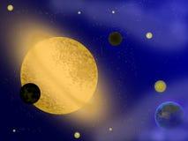 Planet mit Ringen bei Sonnenaufgang auf dem Hintergrund Stockbild