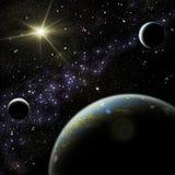 Planet mit Satelliten Stockfoto