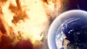 Planet mit Schild im Platz stockfoto