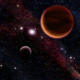 Planet mit zwei Rottönen Lizenzfreies Stockfoto