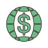 Planet with money symbol Stock Photos