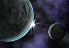 Planet with moon. Illustration of a space scene with planet and moon. the sun is about to rise Royalty Free Illustration