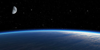 Planet with moon. Blue planet with moon on star space background Stock Photo